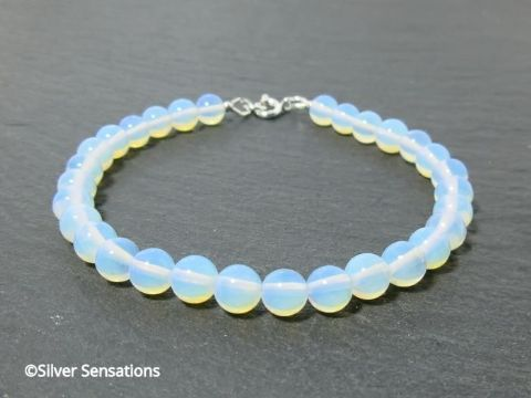 White Milky Blue Opalite Moonstone Beaded Sterling Silver Bracelet